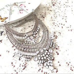 Silver Tone Crystal BIB Statement Necklace New